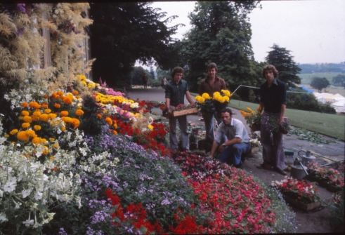Arranging the flower display on the South Terrace